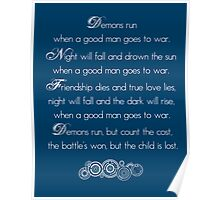 Doctor Who Demons Run poem - white and TARDIS blue Poster