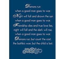 Doctor Who Demons Run poem - white and TARDIS blue Photographic Print