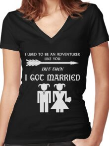 Skyrim Marriage (White) Women's Fitted V-Neck T-Shirt