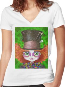 "Johnny Depp as Mad Hatter in Tim Burton's ""Alice in Wonderland"" Women's Fitted V-Neck T-Shirt"