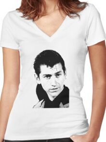 alex turner black and white Women's Fitted V-Neck T-Shirt