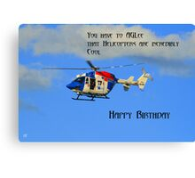 Helicopter Birthday Canvas Print