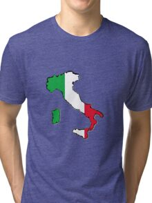 Italy Map With Italian Flag Tri-blend T-Shirt