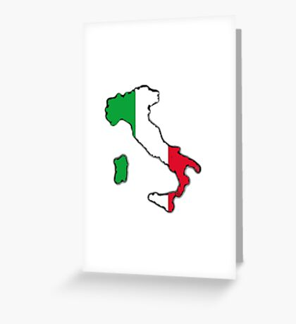 Italy Map With Italian Flag Greeting Card