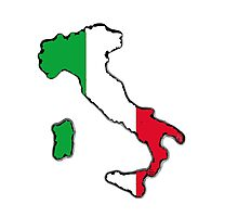Italy Map With Italian Flag Photographic Print