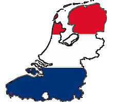 Netherlands Map With Dutch Flag Photographic Print