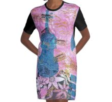 Pink Serenade Faux Chine Colle 2 Graphic T-Shirt Dress