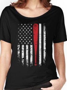 Baseball American Flag USA Support T-Shirt Women's Relaxed Fit T-Shirt
