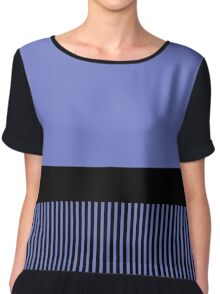 Trendy Violet Chic Black Stripes Chiffon Top