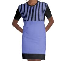Trendy Violet Chic Black Stripes Graphic T-Shirt Dress