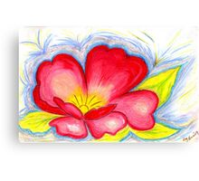 Red Flower in Pastels Canvas Print