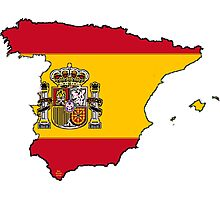 Spain Map With Spanish Flag Photographic Print