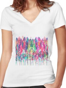Whimsical Watercolor Flowers Blue Women's Fitted V-Neck T-Shirt