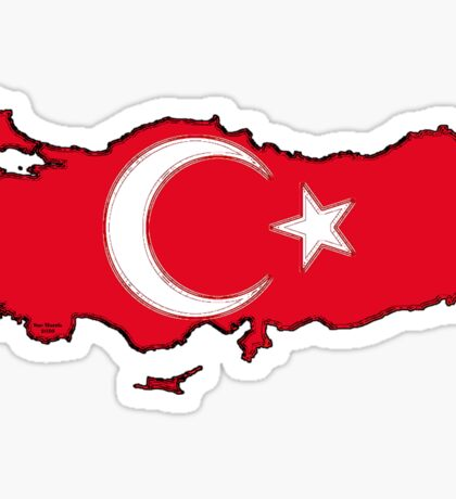 Turkey Map With Turkish Flag Sticker