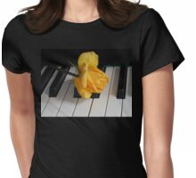 Golden Rose on Piano Keyboard Womens Fitted T-Shirt