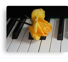 Golden Rose on Piano Keyboard Canvas Print