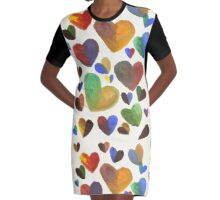 Hand-Painted Hearts in Colorful Chocolate Brown Graphic T-Shirt Dress