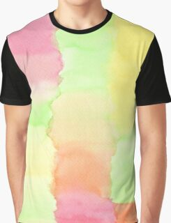 Hand-Painted Abstract Watercolor Green Orange Red Yellow Graphic T-Shirt