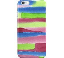 Watercolor Hand Painted Red Blue Green Stripes Background iPhone Case/Skin