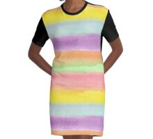 Watercolor Hand Painted Rainbow Stripes Background Graphic T-Shirt Dress