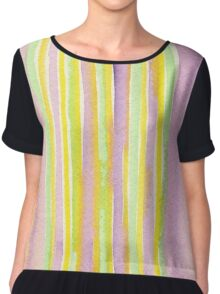 Watercolor Handpainted Purple Yellow Green Stripes Chiffon Top