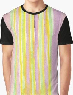 Watercolor Handpainted Purple Yellow Green Stripes Graphic T-Shirt