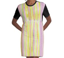 Watercolor Handpainted Purple Yellow Green Stripes Graphic T-Shirt Dress
