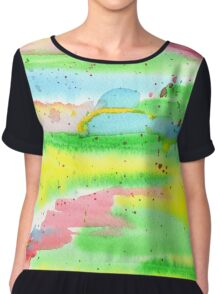 Watercolor Hand-Painted Abstract Red Yellow Green Blue Chiffon Top