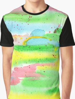 Watercolor Hand-Painted Abstract Red Yellow Green Blue Graphic T-Shirt
