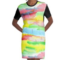 Watercolor Hand-Painted Abstract Red Yellow Green Blue Graphic T-Shirt Dress