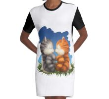 For LOVERS. For Beloved. Two kittens in love Graphic T-Shirt Dress