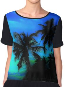 Palm Paradise - Blue and Green Chiffon Top