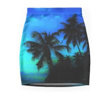 Palm Paradise - Blue and Green Mini Skirt