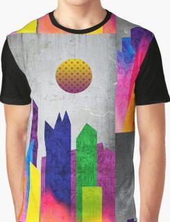 Summer Night City Colorful Trendy Flat Geometric Landscape Graphic T-Shirt