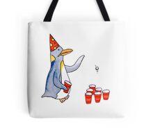 Beer Pong Penguin Tote Bag
