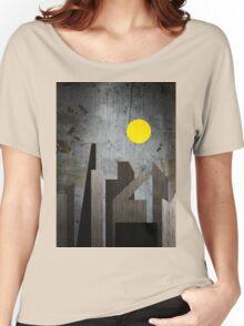 Grunge Winter Rusty City Geometric Flat Urban Landscape Women's Relaxed Fit T-Shirt
