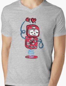 Red Robot Mens V-Neck T-Shirt