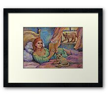 Girl Reading Cats Watching Framed Print