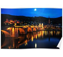 Heidelberg Night Scene Poster