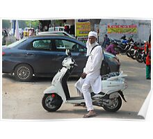 Man in Scooter Abids St Hyderabad Poster