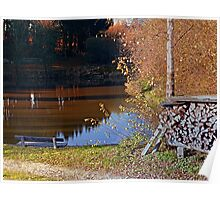 Romantic bench at the pond II | waterscape photography Poster