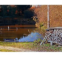 Romantic bench at the pond II | waterscape photography Photographic Print