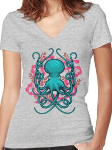 Octupus & Coral Women's Fitted V-Neck T-Shirt