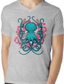 Octupus & Coral Mens V-Neck T-Shirt