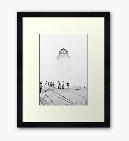 Lighthouse Language - Black and White Framed Print