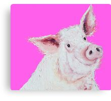 Pig Painting on hot pink Canvas Print