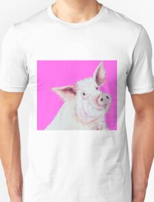 Pig Painting on hot pink Unisex T-Shirt