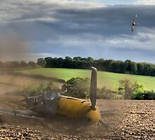 Crash-landing Bf 109 by Gary Eason + Flight Artworks