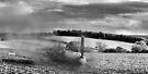 Crash-landing Bf 109 black and white version by Gary Eason