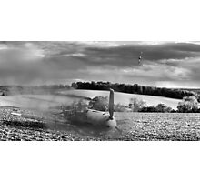 Crash-landing Bf 109 black and white version Photographic Print